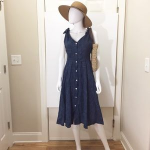 Marled Dark Blue Crosshatch Fit & Flare Dress (S)